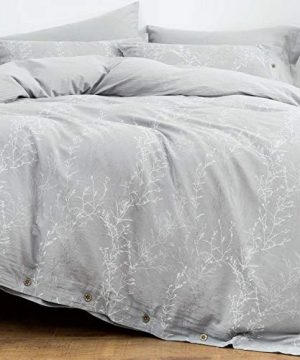 OREISE Duvet Cover Set King Size Washed Cotton Yarn Jacquard Gray And White Thin Branch Pattern Floral Style 3Piece Bedding Set 0 300x360