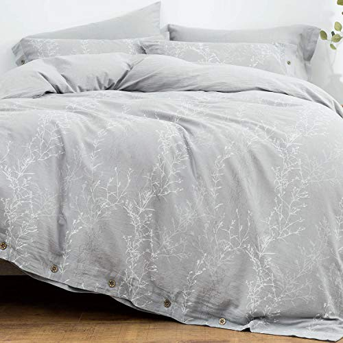 OREISE Duvet Cover Set King Size Washed Cotton Yarn Jacquard Gray And White Thin Branch Pattern Floral Style 3Piece Bedding Set 0