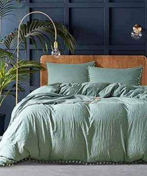 OWMMIZ Duvet Cover Set Washed Microfiber Quilt Bedding Cover Sets Comfortable Cover With Pompon Tassels And 2 Pillow Shams King Size Duvet CoverGreen 0 300x360