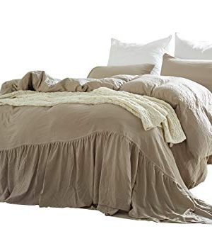Omelas Taupe Washed Cotton Duvet Cover Set Queen Size Mermaid Tail Fringe Ruffle Comforter Cover Solid Color Vintage Bedding Farmhouse Romantic 1 Duvet Cover 2 Pillow Shams 3pcs QueenFull 0 300x333