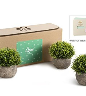 Opps Mini Artificial Plants Plastic Fake Green Grass Topiary Shrubs With Gray Pot For Home Dcor Set Of 3 0 0 300x333