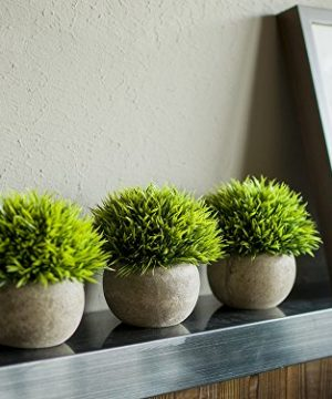 Opps Mini Artificial Plants Plastic Fake Green Grass Topiary Shrubs With Gray Pot For Home Dcor Set Of 3 0 2 300x360