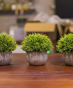 Opps Mini Artificial Plants Plastic Fake Green Grass Topiary Shrubs With Gray Pot For Home Dcor Set Of 3 0 3 300x360