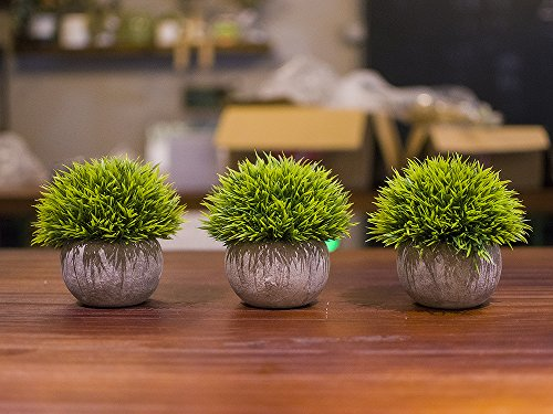 Opps Mini Artificial Plants Plastic Fake Green Grass Topiary Shrubs With Gray Pot For Home Dcor Set Of 3 0 3