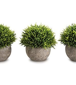 Opps Mini Artificial Plants Plastic Fake Green Grass Topiary Shrubs With Gray Pot For Home Dcor Set Of 3 0 300x333