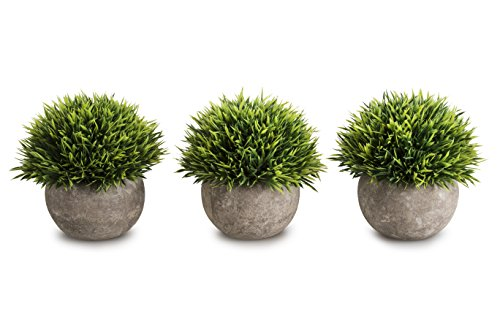 Opps Mini Artificial Plants Plastic Fake Green Grass Topiary Shrubs With Gray Pot For Home Dcor Set Of 3 0