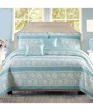 Oversized Teal Aqua Floral Bedding King Quilt Bed Set Geometric Pattern Farmhouse Theme Motif Flowers Floral 5 Piece Polyester 122x106 0 300x360