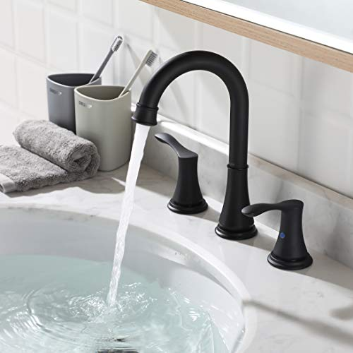 PARLOS 2 Handle 8 Inch Widespread Bathroom Faucet With Valve And Pop Up Drain Assembly And CUPC Faucet Supply Hoses Matte Black Demeter 13653 0 1