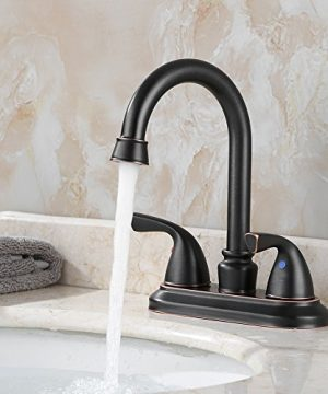 PARLOS Double Handle Lavatory Faucet With Drain Assembly And Supply Hose Lead Free CUPC Bathroom Faucet Mixer Two Handle Lavatory Vanity Utility Laundry Faucet Oil Rubbed Bronze 13592 0 1 300x360