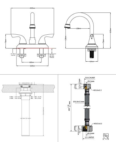 PARLOS Double Handle Lavatory Faucet With Drain Assembly And Supply Hose Lead Free CUPC Bathroom Faucet Mixer Two Handle Lavatory Vanity Utility Laundry Faucet Oil Rubbed Bronze 13592 0 4