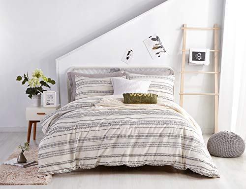 PHF Cotton Boho Yarn Dyed Duvet Cover Set Christmas Decorations Cozy Soft Home Decoration For Winter Queen Size Ivory 0 0