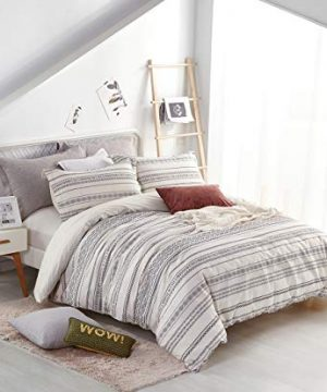 PHF Cotton Boho Yarn Dyed Duvet Cover Set Christmas Decorations Cozy Soft Home Decoration For Winter Queen Size Ivory 0 1 300x360