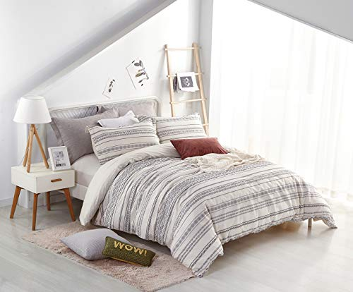 PHF Cotton Boho Yarn Dyed Duvet Cover Set Christmas Decorations Cozy Soft Home Decoration For Winter Queen Size Ivory 0 1