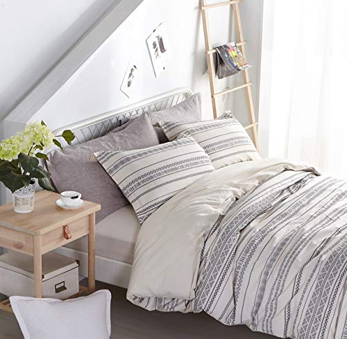 PHF Cotton Boho Yarn Dyed Duvet Cover Set Christmas Decorations Cozy Soft Home Decoration For Winter Queen Size Ivory 0 2