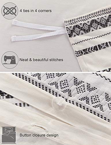 PHF Cotton Boho Yarn Dyed Duvet Cover Set Christmas Decorations Cozy Soft Home Decoration For Winter Queen Size Ivory 0 4