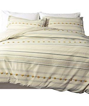 PHF Yarn Dyed Cotton Duvet Cover Set Christmas Decorations Boho Jacquard Tufted Dots Cozy Texture Bedding Home Decoration For Winter Warm Heavyweight King Size Ivory 0 300x357