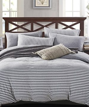 PURE ERA Striped Duvet Cover Set Jersey Knit Cotton Soft Comfy 3 Pieces Home Bedding Sets Reversible 1 Duvet Cover With 2 Pillow Shams Grey Queen 0 0 300x360