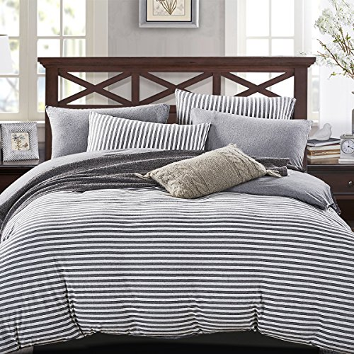 PURE ERA Striped Duvet Cover Set Jersey Knit Cotton Soft Comfy 3 Pieces Home Bedding Sets Reversible 1 Duvet Cover With 2 Pillow Shams Grey Queen 0 0
