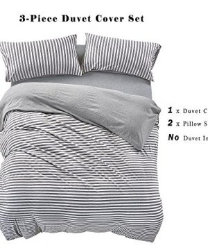 PURE ERA Striped Duvet Cover Set Jersey Knit Cotton Soft Comfy 3 Pieces Home Bedding Sets Reversible 1 Duvet Cover With 2 Pillow Shams Grey Queen 0 1 300x360