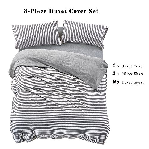 PURE ERA Striped Duvet Cover Set Jersey Knit Cotton Soft Comfy 3 Pieces Home Bedding Sets Reversible 1 Duvet Cover With 2 Pillow Shams Grey Queen 0 1