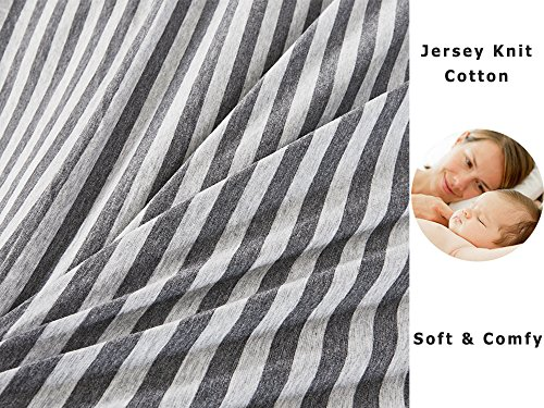 PURE ERA Striped Duvet Cover Set Jersey Knit Cotton Soft Comfy 3 Pieces Home Bedding Sets Reversible 1 Duvet Cover With 2 Pillow Shams Grey Queen 0 2