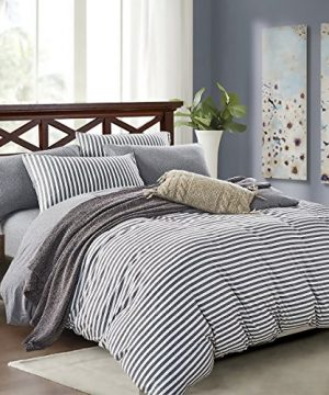 PURE ERA Striped Duvet Cover Set Jersey Knit Cotton Soft Comfy 3 Pieces Home Bedding Sets Reversible 1 Duvet Cover With 2 Pillow Shams Grey Queen 0 300x360
