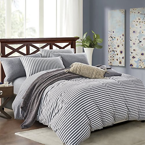 PURE ERA Striped Duvet Cover Set Jersey Knit Cotton Soft Comfy 3 Pieces Home Bedding Sets Reversible 1 Duvet Cover With 2 Pillow Shams Grey Queen 0