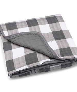 Parker Baby Muslin Blanket 100 Soft Cotton Baby Quilt And Kids Blanket Unisex Gender Neutral Gray Buffalo 0 300x360