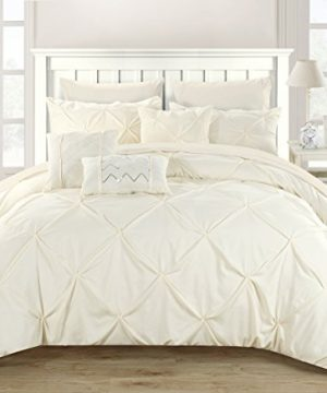 Perfect Home 10 Piece Zita Pinch Pleated Ruffled And Pleated Complete King Bed In A Bag Comforter Set Beige 0 0 300x360