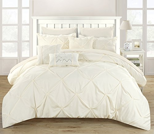 Perfect Home 10 Piece Zita Pinch Pleated Ruffled And Pleated Complete King Bed In A Bag Comforter Set Beige 0 0