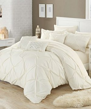 Perfect Home 10 Piece Zita Pinch Pleated Ruffled And Pleated Complete King Bed In A Bag Comforter Set Beige 0 300x360