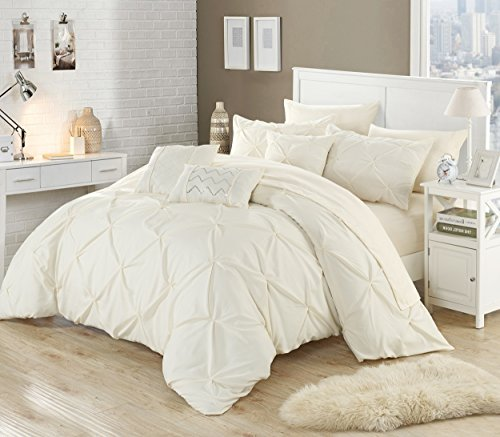 Perfect Home 10 Piece Zita Pinch Pleated Ruffled And Pleated Complete King Bed In A Bag Comforter Set Beige 0