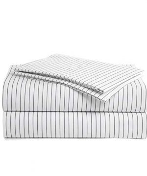 Peru Pima 415 Thread Count Percale 100 Peruvian Pima Cotton Queen Bed Sheet Set Pinstripe White 0 300x360