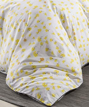 PinkMemory Yellow Floral Duvet Cover Set King Farmhouse Floral Bedding Set 100 Natural Cotton With Edge Wrapping Strip Ultra Soft Breathable Durable YellowKing 0 1 300x360