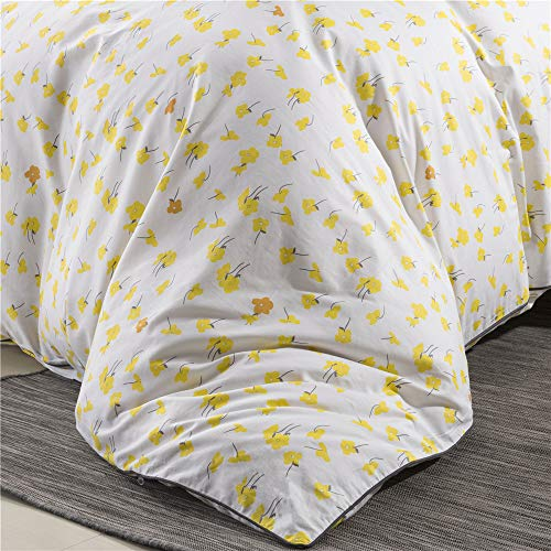 PinkMemory Yellow Floral Duvet Cover Set King Farmhouse Floral Bedding Set 100 Natural Cotton With Edge Wrapping Strip Ultra Soft Breathable Durable YellowKing 0 1