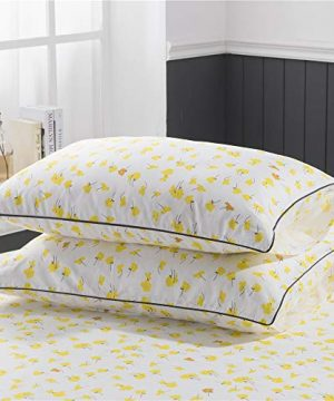 PinkMemory Yellow Floral Duvet Cover Set King Farmhouse Floral Bedding Set 100 Natural Cotton With Edge Wrapping Strip Ultra Soft Breathable Durable YellowKing 0 2 300x360