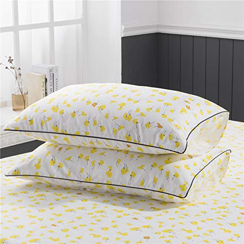 PinkMemory Yellow Floral Duvet Cover Set King Farmhouse Floral Bedding Set 100 Natural Cotton With Edge Wrapping Strip Ultra Soft Breathable Durable YellowKing 0 2