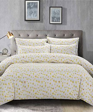 PinkMemory Yellow Floral Duvet Cover Set King Farmhouse Floral Bedding Set 100 Natural Cotton With Edge Wrapping Strip Ultra Soft Breathable Durable YellowKing 0 300x360