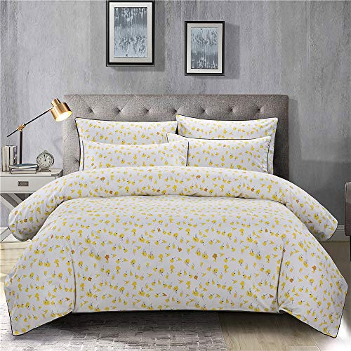 PinkMemory Yellow Floral Duvet Cover Set King Farmhouse Floral Bedding Set 100 Natural Cotton With Edge Wrapping Strip Ultra Soft Breathable Durable YellowKing 0