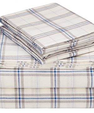 Pinzon 160 Gram Plaid Flannel Cotton Bed Sheet Set Queen Cream Blue Stripe Plaid 0 300x360