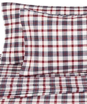 Pinzon 160 Gram Plaid Flannel Cotton Bed Sheet Set Queen Red Grey Plaid 0 0 300x360