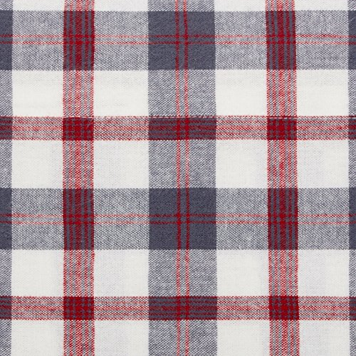 Pinzon 160 Gram Plaid Flannel Cotton Bed Sheet Set Queen Red Grey Plaid 0 1