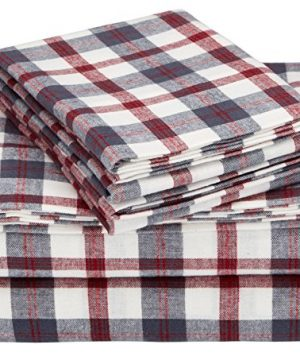 Pinzon 160 Gram Plaid Flannel Cotton Bed Sheet Set Queen Red Grey Plaid 0 300x360