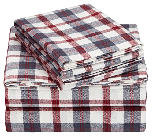 Pinzon 160 Gram Plaid Flannel Cotton Bed Sheet Set Queen Red Grey Plaid 0