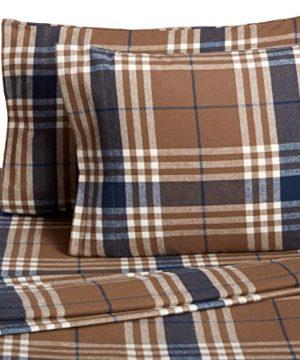 Pinzon Plaid Flannel Bed Sheet Set Twin Brown Plaid 0 0 300x360