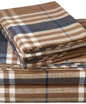 Pinzon Plaid Flannel Bed Sheet Set Twin Brown Plaid 0 300x360