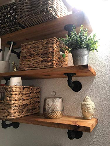 Pipe Bracket 6 Inch 6 Packs Black Industrial DIY L Pipe Shelf Bracket For Wood Floating Shelf Vintage Look Rustic Pipe Decor Wall Mount 6 Packs L Type 0 4