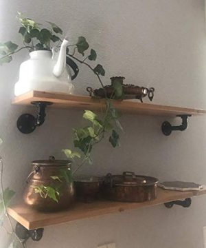Pipe Bracket 6 Inch 6 Packs Black Industrial DIY L Pipe Shelf Bracket For Wood Floating Shelf Vintage Look Rustic Pipe Decor Wall Mount 6 Packs L Type 0 5 300x360