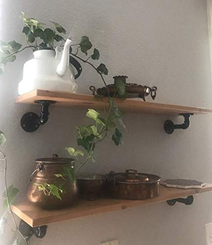 Pipe Bracket 6 Inch 6 Packs Black Industrial DIY L Pipe Shelf Bracket For Wood Floating Shelf Vintage Look Rustic Pipe Decor Wall Mount 6 Packs L Type 0 5