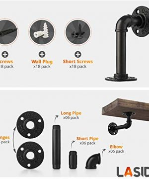 Pipe Bracket 6 Packs Black Industrial DIY L Pipe Shelf Bracket For Wood Floating Shelf Vintage Look Rustic Pipe Decor Wall Mount With All Accessories Needed Shelf Not Included 6 Packs L Type 0 1 300x360